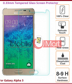 Samsung Galaxy Alfa A3 Tempered Glass Scratch Gaurd Screen Protector Toughened Film