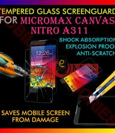 Micromax Canvas Nitro A311 Tempered Glass Scratch Gaurd Screen Protector Toughened Film