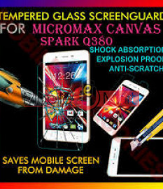Micromax Q380 Canvas Spark Tempered Glass Scratch Gaurd Screen Protector Toughened Protective Film