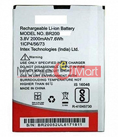 Mobile Battery For Intex Aqua A4 Plus